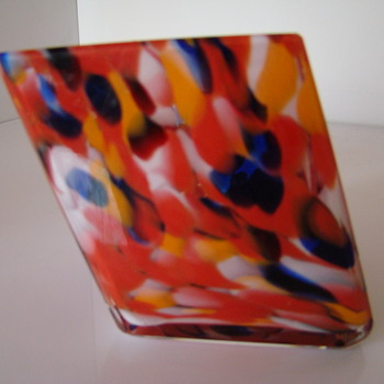 Spatter glass pen holder - Art Glass