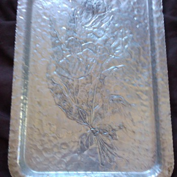 HELP - STERLING SILVER ROSE ETCHED TRAY  - Sterling Silver