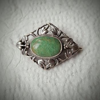 Arts and Crafts silver amazonite brooch, original case.