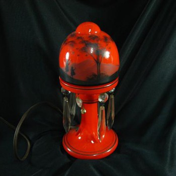 Al's Red & black Lamp - Art Glass