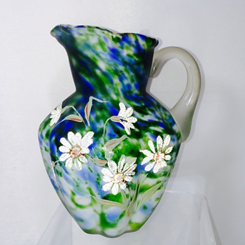 Fenton Coralene Blue Spatter Satin Melon Ewer Pitcher  - Art Glass
