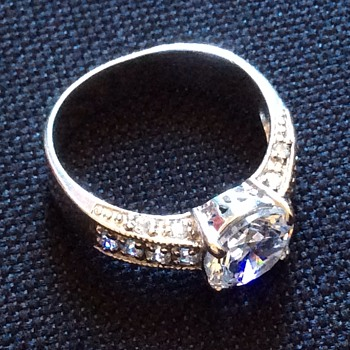 Vintage silver & CZ ? Ring - Art Deco