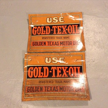 Golden Texas motor oil signs