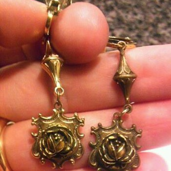 Rose crest pierced style clip back earrings - Costume Jewelry