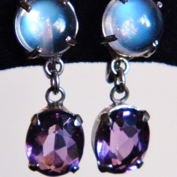 Vintage Deco Ceylon Moonstone Amethyst Binder Brothers Sterling Dangle Earrings - Fine Jewelry