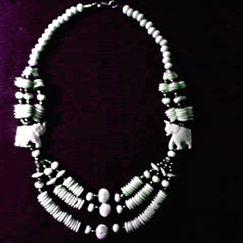 "Carved ""Faux"" Ivory Elephant and Multi Strand Bead Necklace/ Circa 20th Century"