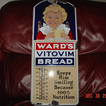 1915 Porcelain Graphic Wards Vitovim Bread Thermometer... Made In Coshocton,Ohio - Advertising