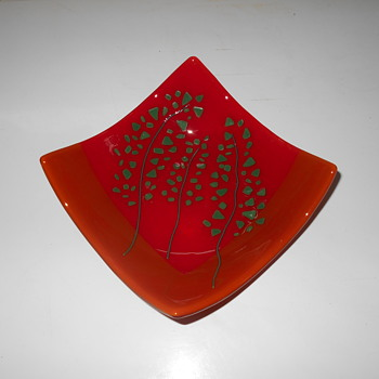 Fused and Cased MCM ? Art Glass dish with abstract tree HELP