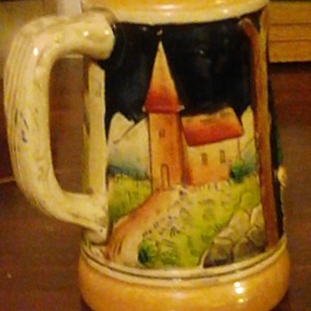 "My favorite vintage German Stein 6"" Made in West Germany in 40's. Beautiful Bavarian scenes with man resting and community.  - Breweriana"