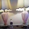 1950's Murano Art Glass Lamps PAIR (( Pink )) Lamps