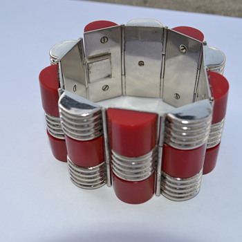 Art Deco Bakelite and Chrome Bracelet - 1930's/1940's - Art Deco