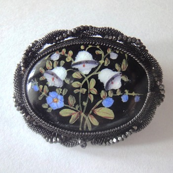 Silesian Iron Wire-Work  Enameled Cut Steel Brooch, ca.1820
