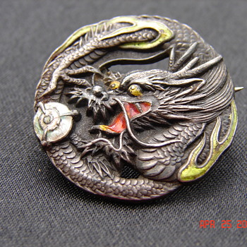 Beautiful Asian Silver Dragon Enamel Pin With C-clasp Antique - Asian