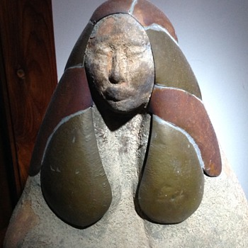 Sitting Indian Clay Statue copper head dress - Art Pottery
