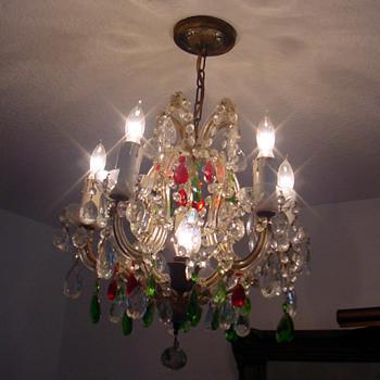 Antique French Multi Coloured Cut Crystal Chandelier - Lamps