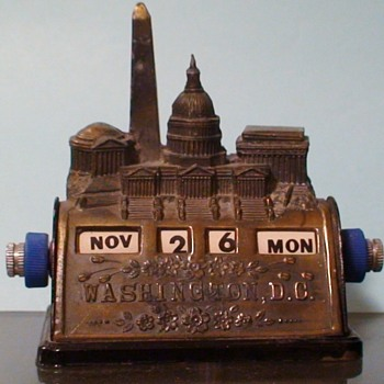 """Washington DC Metal Perpetual Calendar"" Circa 1946-1953 - Advertising"