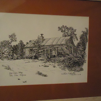Original ink painting of Jack London's Cottage, He died here, Famous Wolf House burned down - Visual Art