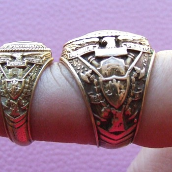 Matching Pair of Man's and Woman's 1937 V.M.I. Class Rings