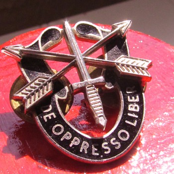 """My Brother's U.S. Army Special Forces (""""Green Beret"""") Regimental Crest Pin, circa 1970's - Symbols of Unconventional Warfare - Military and Wartime"""