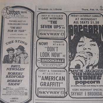 Movie advertisements from the Minneapolis Tribune in 1974 and 1980