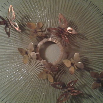Mid Century Artisan House/Curtis Jere sunburst butterfly metal wall art