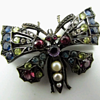 Victorian multicolor stones butterfly brooch.