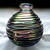 Beautiful Iridescent Threaded Glass Vase-Perfume Bottle / Unknown Maker and Age