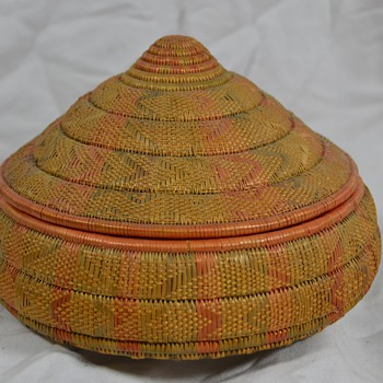 Very Colorful Native Basket with Lid - Cone Shaped - Native American