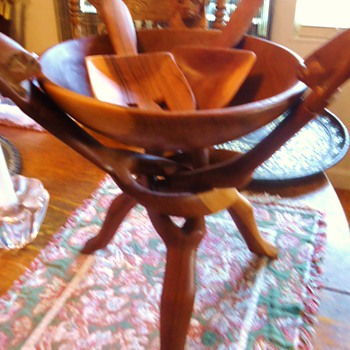 Auction said Aztec Bowl and salad tossers!!  $8.00  Kind of cool! - Kitchen