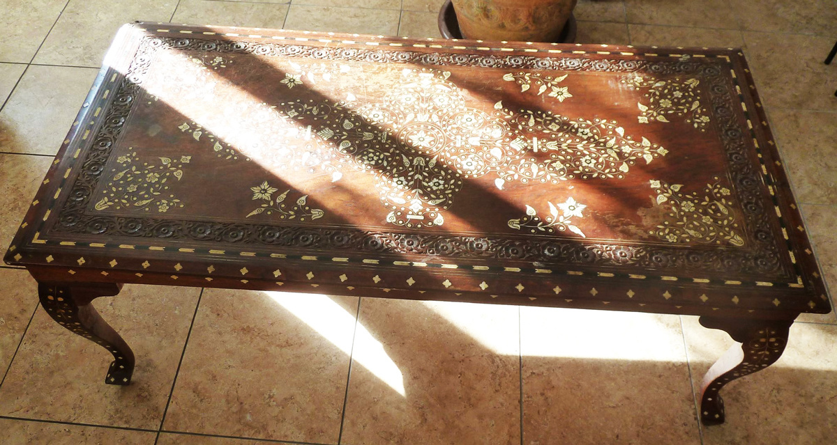 Indonesian Rosewood Ebony And Ivory Inlaid Coffee Table