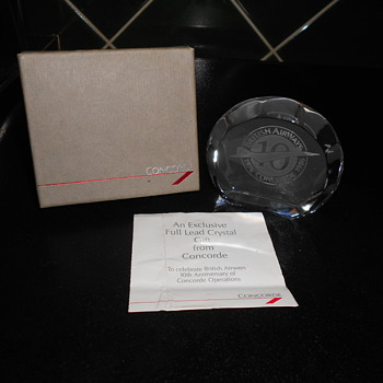 Concorde 10 Year Anniversary Paperweight. - Art Glass