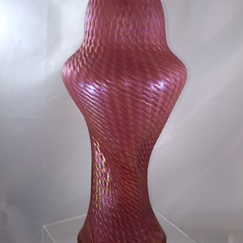 "Rindskopf Snakeskin? Fuschia Iridescent Twist 13"" Vase - Art Glass"