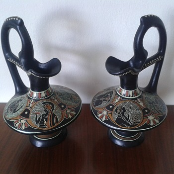 Pair of Greek Terracotta hand painted pitchers By D. Vassilopoules