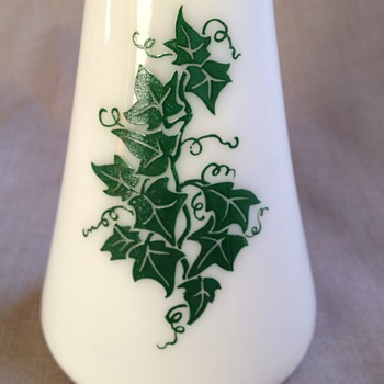Milk glass vase with Ivy Design