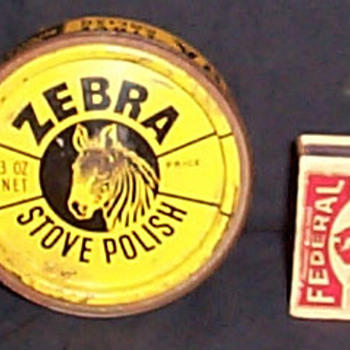 Zebra Stove Polish tin - Advertising