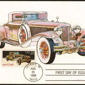 "1988 - ""1931 Cord L-29"" - First Day Issue Stamped Card"
