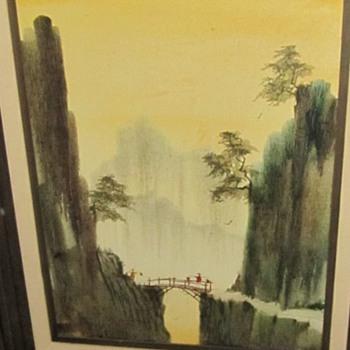 walking across a bridge painting - Visual Art
