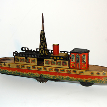 Kellermann liner boat clockwork tin toy 1920