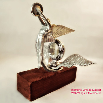 Triomphe Vintage Hood Ornament, With Wings and Motometer - Art Deco