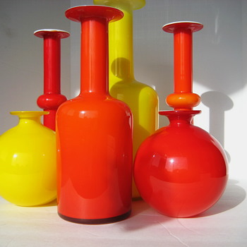 Holmegaard 6 vase grouping - Art Glass