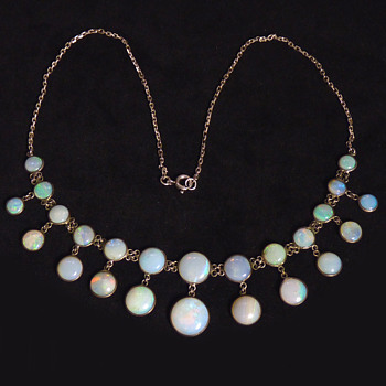 """An Edwardian White Opal and Silver """"Chandelier"""" Necklace"""