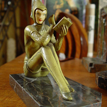 More Pictures of Green Pixie Bookends - Art Deco