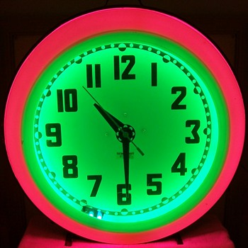 Mid Century Eames Era Neon Diner Clock - Clocks