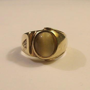 "Vintage ""Tiger Eye"" Crysoberryl Mens Ring with Diamond in 18k - Fine Jewelry"