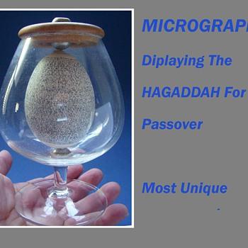 HAGADDAH For PASSOVER Sedar Micrograph on EGG c.1965  - Folk Art