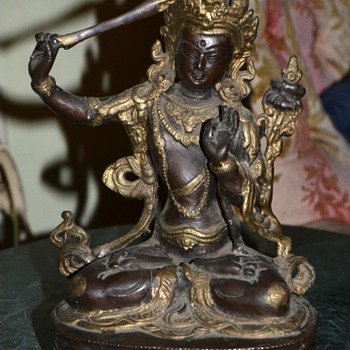 Chased Bronze figure of Manjushri - Gate Gate Parasamgate!