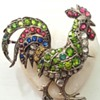 Antique rooster silver and paste brooch, Auguste Besson.