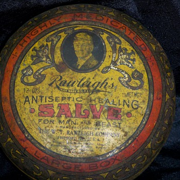 Rawleigh&#039;s Antiseptic Salve &quot;Fit for Man Or Beast&quot; Tin - Advertising