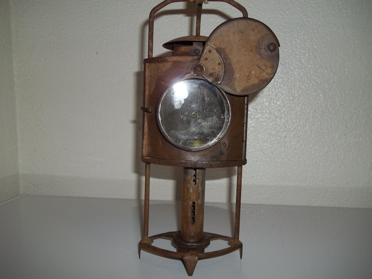 antique civil war era   brass candle lantern