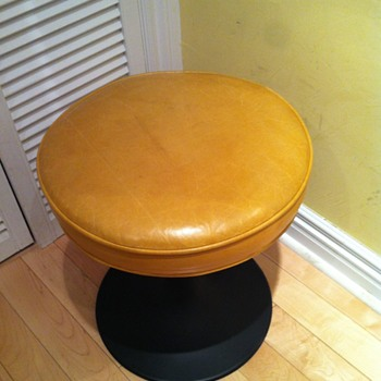 Stool with yellow leather seat. - Furniture